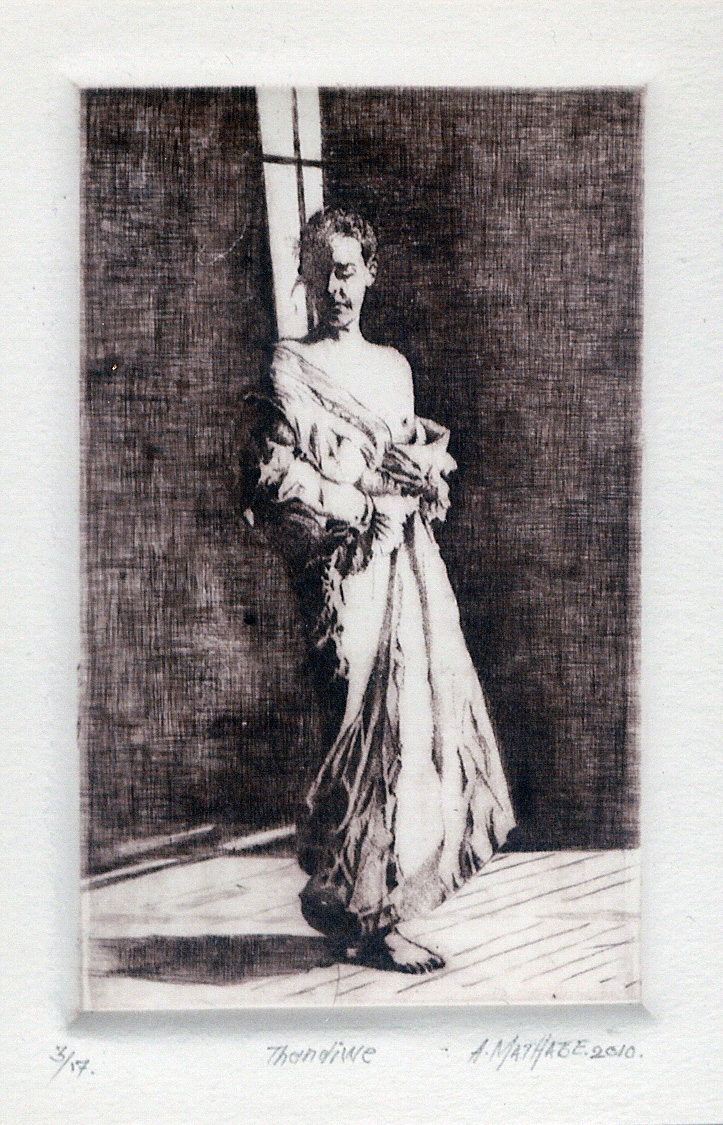 1 Thandine by Abe Mathabe - Dry-Point on Perspex