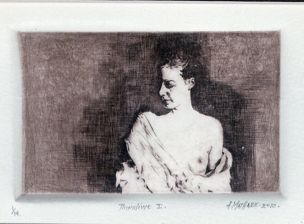 2 Thandine I by Abe Mathabe - Dry-Point on Perspex
