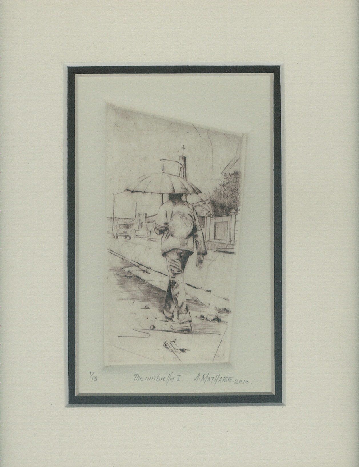 4 The Umbrella I by Abe Mathabe - Dry-Point on Perspex