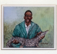 37 Crocodile Champion by Meg Edgecombe - Watercolour on Polymin