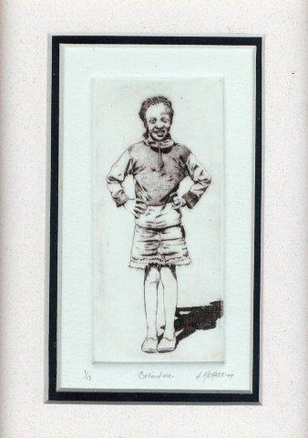 57 Behind Me by Abe Mathabe in Dry-point on Perspex