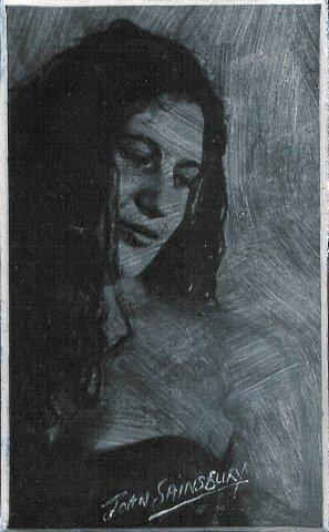 99 Andrea by Joan Sainsbury in Charcoal Powder, Liquin and Pencil