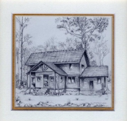 49 Worker's Cottage at Shiwa Ngandu by Debra Longfield in Coloured Pencil