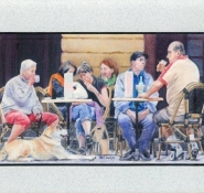 92 Pavement Cafe Sarlat. by Pat Puttergill in Watercolour. Highly Commended