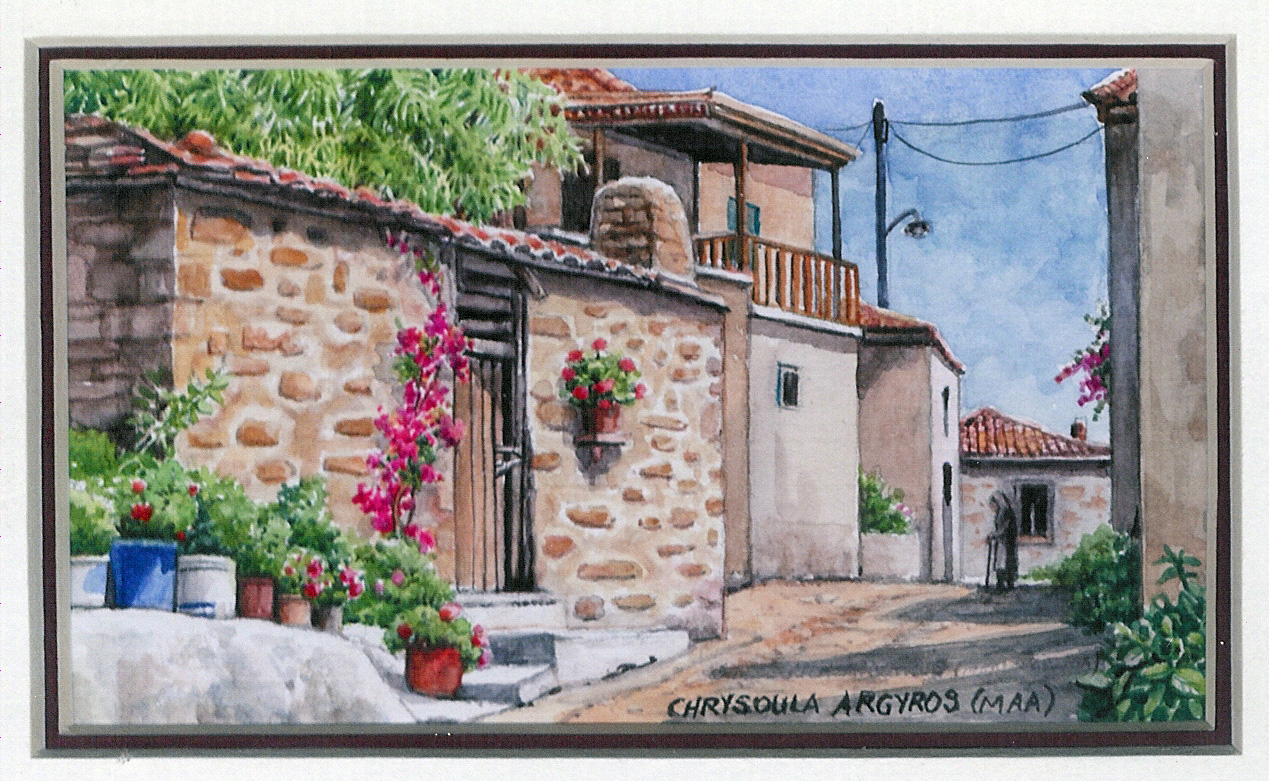 29 In the Village of Daphni by Chrysoula Argyros - Watercolour