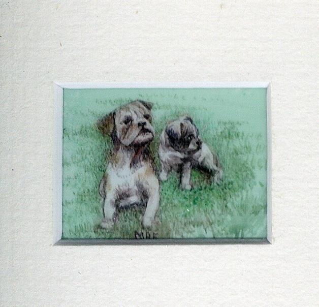 40 Bulldog Puppies up to Mischief by Meg Edgecombe - Watercolour on Polymin