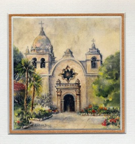 14 Carmel Mission Basilica by Eileen Bass - Watercolour