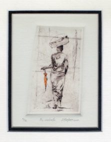 3 Umbrella by Abe Mathabe - Dry-Point on Perspex