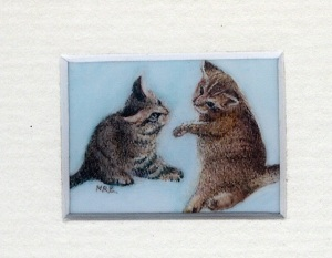 39 Kittens at Play by Meg Edgecombe - Watercolour on Polymin