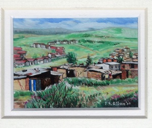 49 Rural Settlement, Natal by Paul Allen - Oil on refined canvas