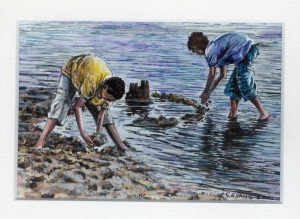 59 Engineers at Work by Carrol Evans - Watercolour