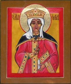 69 St Olga by Nikolai Loukakis - Tempera/Gold Leaf