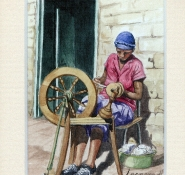 74 Spinning by Leonora de Lange - Watercolour