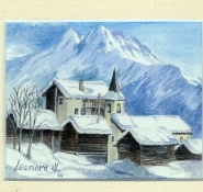 75 La Sage, Switzerland by Leonora de Lange - Watercolour