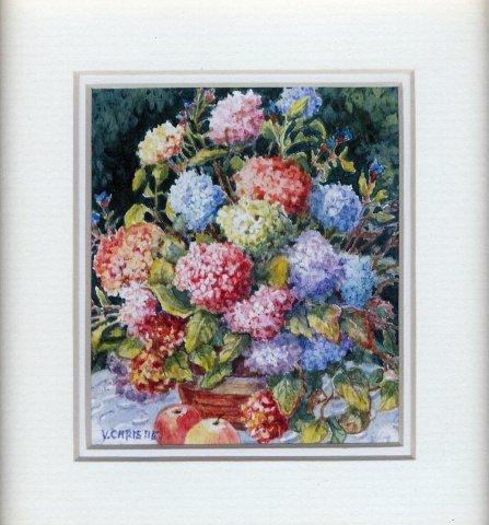 5 Colourful Hydrangeas by Valerie Christie in Watercolour