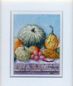 2  Pumpkins - All Sorts by Valerie Christie in Watercolour