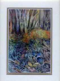 40 Bronze Bush & Bluerock by Charmian Kennealy in Mized Media