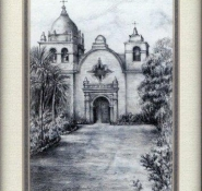 13 Carmel Mission Bascilica by Eileen Bass in Pencil